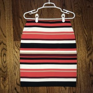 Navy and Coral Striped Pencil Skirt